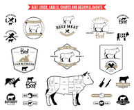 Beef Logos, Labels, Charts and Design Elements. Lots of vector beef design elements for your work Stock Image