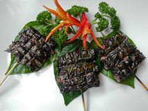 Beef with Loi Lai Leaf. Vietnamese dish of beef grilled with Loi Lai Leaf Stock Photography