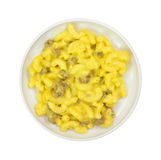 Beef Macaroni Cheese Small Plate Top View Stock Image