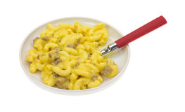 Beef Macaroni Cheese Spoon In Dish Royalty Free Stock Photography