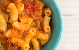 Beef and Macaroni in a small bowl close top view Royalty Free Stock Photos