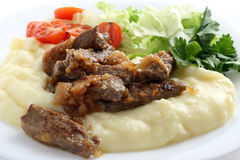 Beef with mashed potatoes Stock Photo