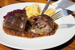 Beef with mashed potatoes Royalty Free Stock Images