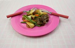 Beef Meal Pink Plate Angle View Stock Photos