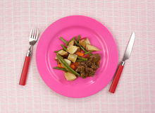 Beef Meal Pink Plate Plaid Tablecloth Royalty Free Stock Images
