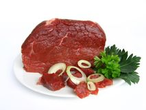 Beef meat. Freshly beef  meat and vegetable Royalty Free Stock Images