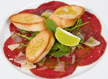Beef meat with baguette Royalty Free Stock Photography