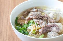 Beef and meat ball noodle soup Royalty Free Stock Photos