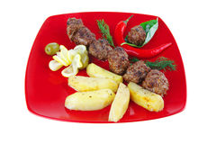 Beef meat balls with peppers Stock Images