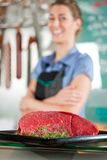 Beef Meat with Butcher in Background Stock Photos