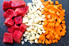 Beef meat, celery, carrots Royalty Free Stock Photos