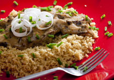 Beef meat on couscous Royalty Free Stock Photography