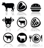 Beef meat, cow  icon set Royalty Free Stock Image