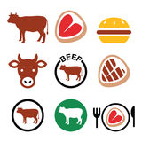 Beef meat, cow vector icon set Royalty Free Stock Photography