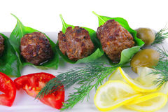 Beef meat cutlet with tomatoes Stock Photos