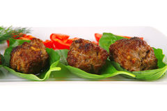 Beef meat cutlet with tomatoes Stock Photography