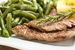 Beef Meat with Green Beans Royalty Free Stock Photography