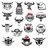Beef meat icons. Set of fifteen beef meat icons Royalty Free Stock Photography