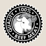 Beef Meat Quality 100% Seal. Great Seal certifying 100% quality beef products Stock Images