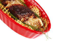 Beef meat on red bowl Royalty Free Stock Photo