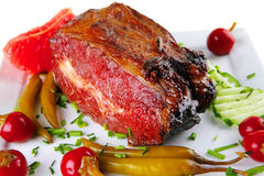 Beef meat and red peppers Stock Images