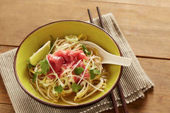 Beef meat rice noodle pho soup Stock Photo