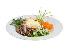 Beef meat salad vegetables and grated cheese Stock Images