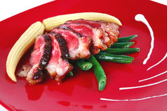 Beef meat served with corns Royalty Free Stock Photos