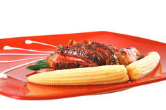 Beef meat served with corns Stock Image