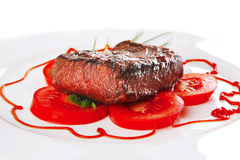 Beef meat served on plate Stock Photos