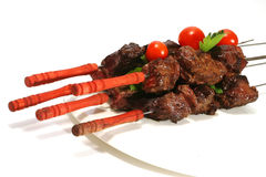 Beef meat on skewer Royalty Free Stock Images