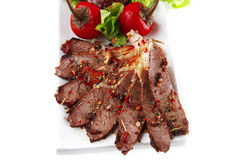 Beef meat slice on plate Stock Photos