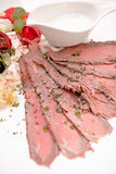 Beef meat slices on served on white plate Stock Photo
