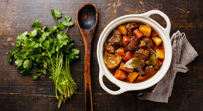 Beef meat stewed with potatoes Stock Image