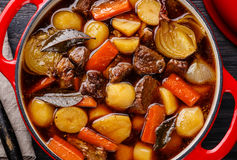 Beef meat stewed with potatoes close up Royalty Free Stock Images