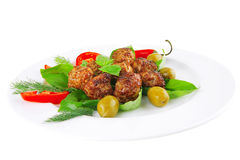 Beef meatballs on basil Royalty Free Stock Photos