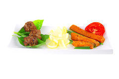 Beef meatballs and basil Stock Image