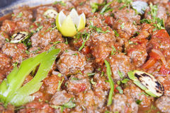 Beef meatballs at an egyptian restaurant buffet Stock Images