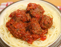 Beef Meatballs with Pasta Stock Images
