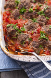 Beef meatballs in tomatoe sauce stock photography