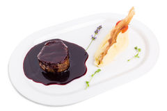 Beef medallion in chianti sauce. Royalty Free Stock Photography