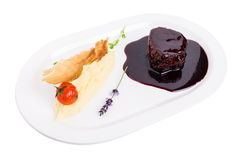 Beef medallion in chianti sauce. Royalty Free Stock Image