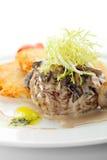 Beef Mignon. Under Sauce with Roasted Potato stock photos