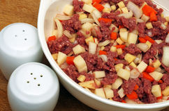 Beef mince and mix vegetables Stock Images