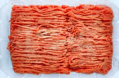 Beef mince on plastic container. Stock Images