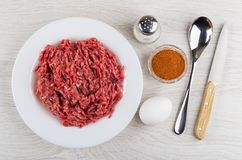 Beef mince, red pepper, chicken egg, salt, spoon, kitchen knife. Beef mince in white plate, bowl with red pepper, chicken egg, salt, spoon, kitchen knife on stock photos