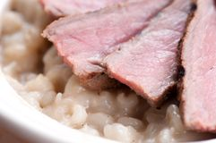 Beef and mushroom barley risotto Stock Images