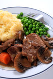 Beef and mushroom casserole dinner Royalty Free Stock Photography