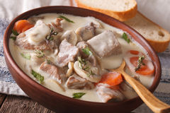 Beef with mushrooms in cream sauce in a bowl. horizontal Royalty Free Stock Photos