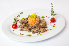 Beef with mushrooms. On table Stock Image